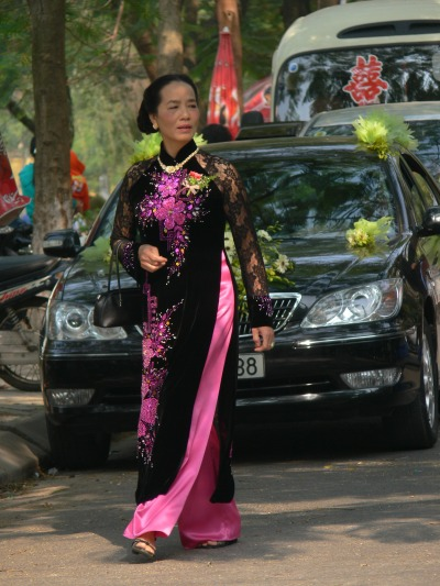 Formal Ao Dai worn for Wedding party in Hanoi. Think weddings, celebrating Tet (New Year) and other formal occasions – think Ao Dai.