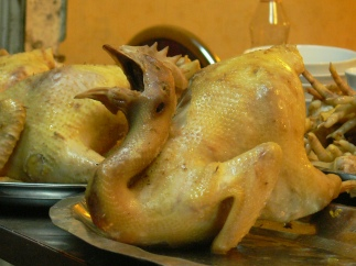 Boiled, ready to go - this chicken sits waiting for being made into a tasty dish in Hanoi, Vietnam Restaurant.