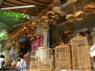 Bird cage stores are dotted all over Hanoi City to accommodate the popularity of bird keeping. Even though I don't have a bird, I still wanted one of these very ornate and carved bird cages.