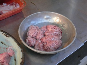Raw Pig's Brains - nothing in Vietnam is ever wasted, when an animal is for meat, the whole animal is consumed. Most cultures used to be like that, but now we have many taboo ingredients.