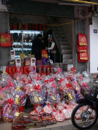 One of hundreds of shops that sell Tet gift baskets in Hanoi, Vietnam.