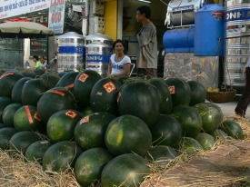 Watermelons are eaten because they are red, and that symbolizes happiness and luckiness, Hanoi, Vietnam.