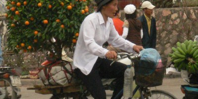 Tet Tree delivery person on bicycle.