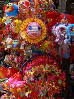 Autumn Festival Lanterns on Ma May Street, Hanoi, Vietnam.