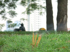 A few random incense burn in the grass.