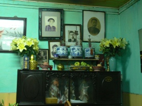 Ancestor table at Cha Ca La Vong Restaurant, 14 Chả Cá, Hoàn Kiếm, Hà Nội, Vietnam.