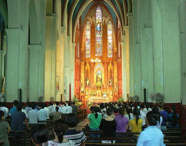 Inside St Joseph's Cathedral looking from the door, Hanoi, Vietnam.