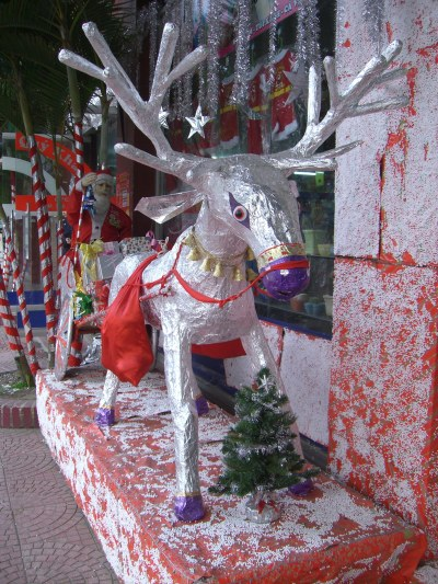 Christmas in Hanoi - outside a stationery shop, Rudolf has had a funky makeover as now silver with a purple nose !! Hanoi,Vietnam.