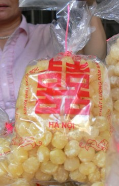 Double Happiness Lotus seed sweets are sold in Hanoi and make good presents.