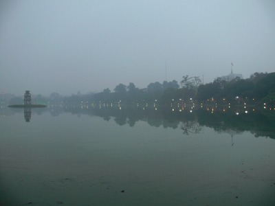 Hoan Kiem Lake, Hanoi, Vietnam with Turtle Tower on a cold winters night a cold winters night one can imagine this is a place where legends are made.
