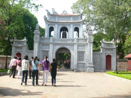 Temple of Literature- Văn Miếu main entrance on a quiet day. The center main door was reserved only for the King and the mandarins. Doors on right and left were used for everyone else !