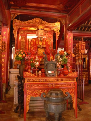 Temple of Literature - Văn Miếu - Grand Master Confucius (479 - 551 BC). This room is considered the most beautiful of all, so much culture and tradition is contained within these walls.