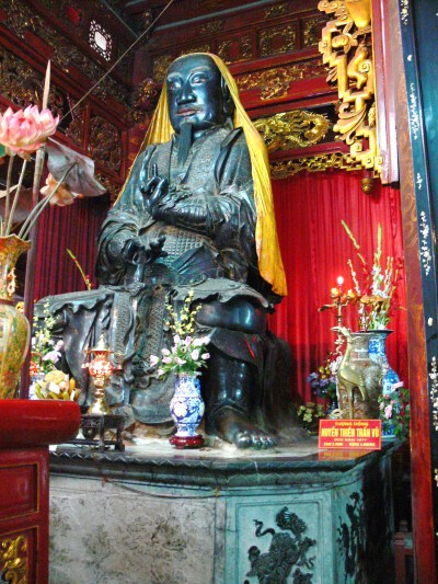 God of the North at Quan Thanh Temple, Hanoi - this bronze statue was made in 1677, 4 meters high and weighs almost 4 tonne.