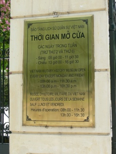 Vietnam Military History Museum, Hanoi - many signs boards still contain the French translation.