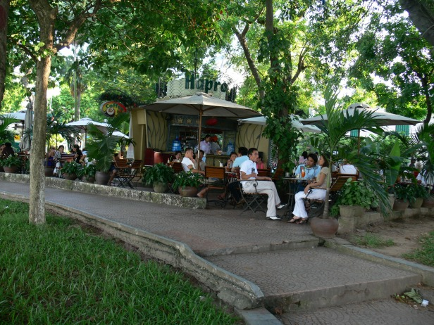 Hapro Alfresco Lakeside Cafe, Hoan Kiem Lake, Hanoi - perfect place on the lake front, a great place to sit, have a break and a coffee; and people watch any time of the day.