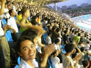 My Dinh Stadium, Hanoi, Vietnam is packed and everyone is in fine spirits !!