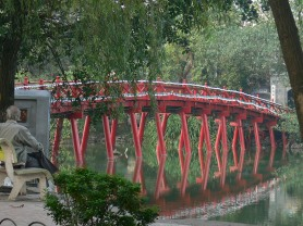 The Huc Bridge - means rising sun, Hoan Kiem Lake bridge to Ngoc Son Temple, Hanoi, Vietnam