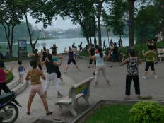 One of the aerobic classes available - starts at 6am if you are interested in joining. Hoan Kiem Lake, Hanoi