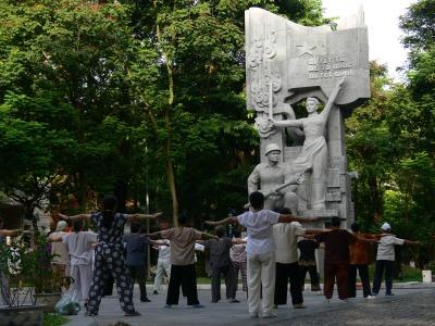 Thai Chi group by Water Tower, Hanoi, Vietnam.