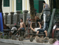 Gym by Hoan Kiem Lake, Hanoi, Vietnam in action.