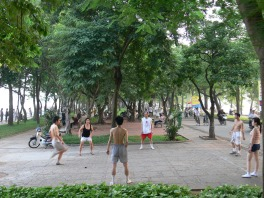 Hacky sack circle - playing off Thanh Nien Streets, between Truc Bach and Tay Ho Lakes, Hanoi, Vietnam.