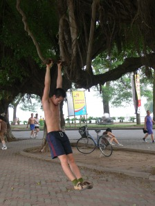 Truc Bach Lake gym, in the morning this space becomes a tea shop during the day. Vietnamese man uses a tree as an exercise bar near Chuc Bach Lake in Hanoi, Vietnam.