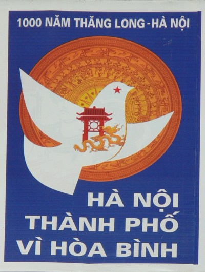 2010 - Hanoi 1000 years - City of Peace - Poster with dove, temple of literature, dragon and symbol