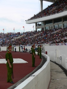 Football security inside My Dinh Stadium is closely watched by many officers who are very strict about appropriate behavior, so if you want to go be on your best behavior.