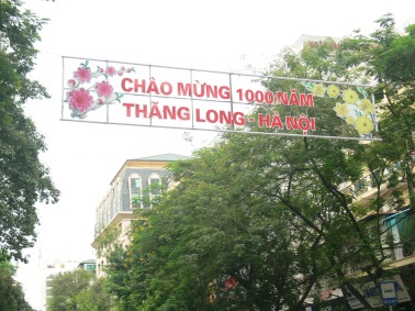 Above Street Banner - Welcome 1000 Years - Thang Long (old name for Hanoi) - Hanoi