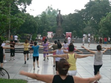 6am - 7am action at Ly Thai To Park, 18 Vietnamese ladies join a aerobics class.