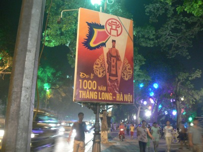Signage around Hoan Kiem Lake with Ly Thai To for 1000 years in 2010, Vietnam.