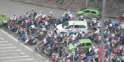 The ratio of bikes to cars used to be 1 car to 100 bikes, Vietnam statistics.