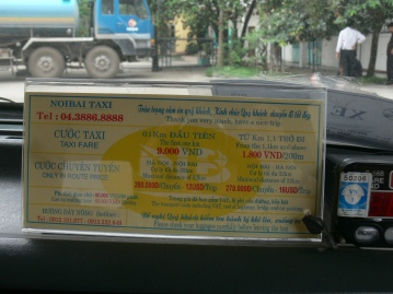 Noi Bai Taxi price list of 2010. Hop in fare VND9,000 for first km. From 1.1 km and above for extra 200 meters VND1,800 Hanoi – Noi Bai (International Airport), maximum 32 kms, VND200,000 or $12USD for trip. Noi Bai (International Airport) – Hanoi, maximum 32 kms, VND270,000 or $16USD for trip. Waiting cost VND60,000 per 60 minutes.