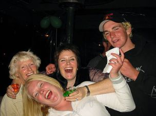 2005 - Danielle Hunt with Nana Joyce Hunt, Christina and Matt; at Jonnie's 21st Reefton, New Zealand.