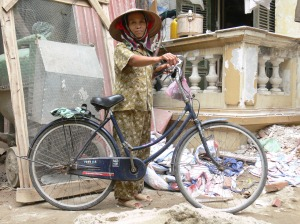 This construction worker is the cook for the 10 other workers, this is her bike and very proud of it !! It means a lot to her !!