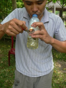 Home made Vietnamese water pipe - made from a water bottle.