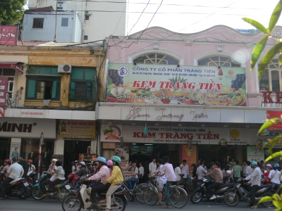 The crowds have thinned out as people head home for dinner on a summers night - but the place to be for ice cream lovers. Mini traffic jam created in the name of tradition - Kem Tràng Tiền (Trang Tien Icecrea) - 35 Tràng Tiền Street, Hà Nội