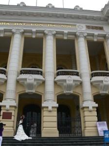 Hanoi Opera House - a beautiful back drop for elegant wedding photos.