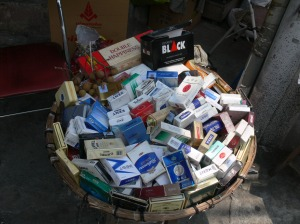 Smokes / Cigarettes for sale in Hanoi in 2010