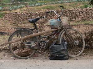 A gardeners bike come storeroom, in camouflage.