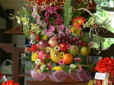 Fruit and Flowers are offered as part of the wedding proposal.