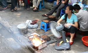 Side walk cooking - the electric fan creates just the right wind tunnel so it cooks to perfection.