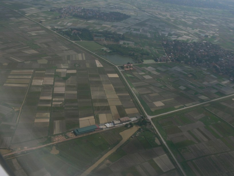 Flying into Hanoi's Noi Bai's International airport, looking down you see a patchwork of rice paddies.