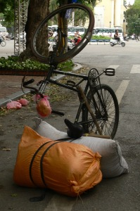 The way you park your bike when your load is heavier than you bike.