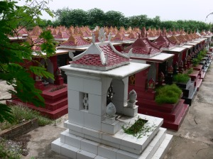 Memorial houses at cemetery in Hanoi.