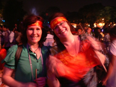 Christina and her sister in Hanoi in 2010 at the Hanoi 1000 year birthday celebrations.