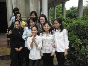 Tu Vien - Vietnam - Christina with lovely group of girls on visit to their Organisation that helps disabled persons and homeless elderly.