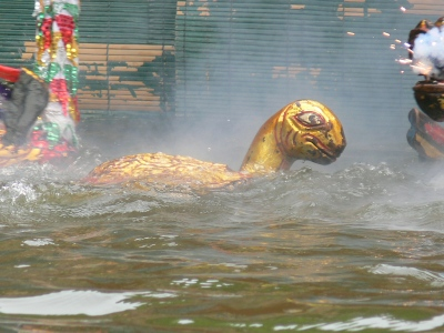 Famous turtle comes back to steal the magical sword - see Myth of Hoan Kiem Lake.