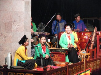 Thang Long Water Puppets, Hanoi - Let it begin. Musician's make magic from scene one.