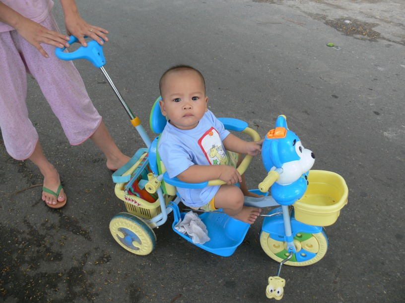A Vietnamese boy who is under 1 year is going past on a colorful trike that is being pushed, he looks at me intensely saying : Who are you ?